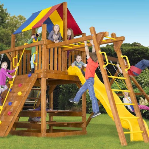 "Design 38B - Carnival Clubhouse Pkg III with 4""x 4"" Monkey Bars"