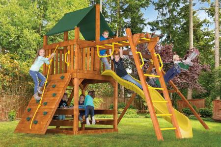"Design 34C - Fiesta Clubhouse Pkg III w/ 4""x 4"" Monkey Bars"